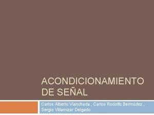 ACONDICIONAMIENTO DE SEAL Carlos Alberto Vianchada Carlos Rodolfo