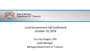 State of Michigan Department of Treasury Local Government