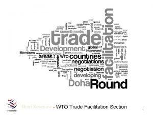 Sheri Rosenow WTO Trade Facilitation Section 1 WTO