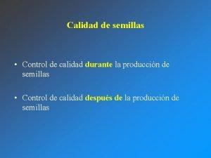 Calidad de semillas Control de calidad durante la