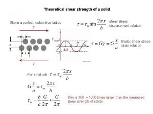 Theoretical shear strength of a solid shear stress