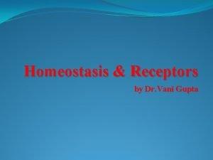 Homeostasis Receptors by Dr Vani Gupta Homeostasis Homeostasis