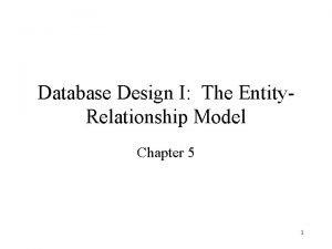Database Design I The Entity Relationship Model Chapter