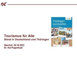 Tourismus fr Alle Stand in Deutschland und Thringen