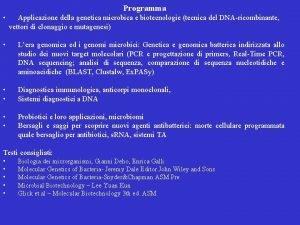 Programma Applicazione della genetica microbica e biotecnologie tecnica