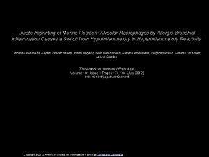 Innate Imprinting of Murine Resident Alveolar Macrophages by