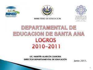 MINISTERIO DE EDUCACION DEPARTAMENTAL DE EDUCACION DE SANTA
