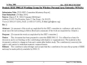 14 May 2001 doc IEEE 802 15 01216