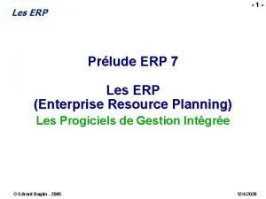 1 Les ERP Prlude ERP 7 Les ERP