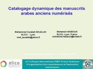 Catalogage dynamique des manuscrits arabes anciens numriss Mohammed