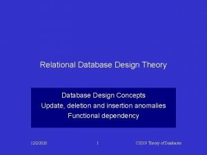 Relational Database Design Theory Database Design Concepts Update