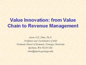 Value Innovation from Value Chain to Revenue Management