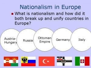 Nationalism in Europe n What is nationalism and