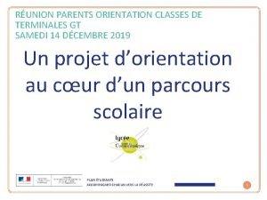 RUNION PARENTS ORIENTATION CLASSES DE TERMINALES GT SAMEDI