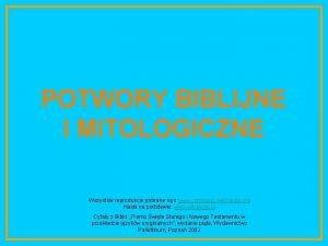 POTWORY BIBLIJNE I MITOLOGICZNE Wszystkie reprodukcje pobrane s