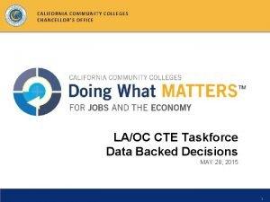 CALIFORNIA COMMUNITY COLLEGES CHANCELLORS OFFICE LAOC CTE Taskforce