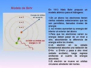 Modelo de Bohr En 1913 Niels Bohr propuso