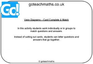 Venn Diagrams Card Complete Match In this activity