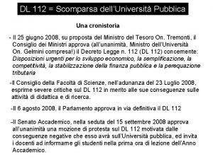 DL 112 Scomparsa dellUniversit Pubblica Una cronistoria Il