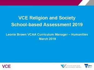VCE Religion and Society Schoolbased Assessment 2019 Leonie