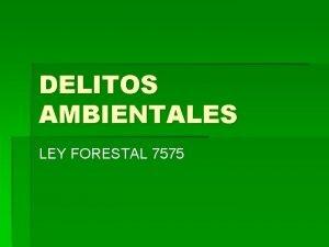 DELITOS AMBIENTALES LEY FORESTAL 7575 DELITOS Invada rea