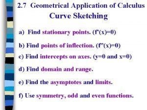 2 7 Geometrical Application of Calculus Curve Sketching