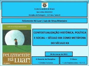 Escola Secundria de Moura Ano Letivo 20122013 Disciplina