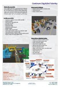 Centrum Digitln fabriky Hlavn cle pracovit Hlavn smry