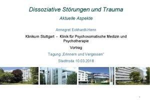 Dissoziative Strungen und Trauma Aktuelle Aspekte Annegret EckhardtHenn
