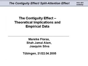 The Contiguity Effect SplitAttention Effect The Contiguity Effect