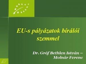 EUs plyzatok brli szemmel Dr Grf Bethlen Istvn