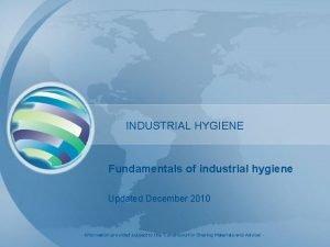 INDUSTRIAL HYGIENE Fundamentals of industrial hygiene Updated December