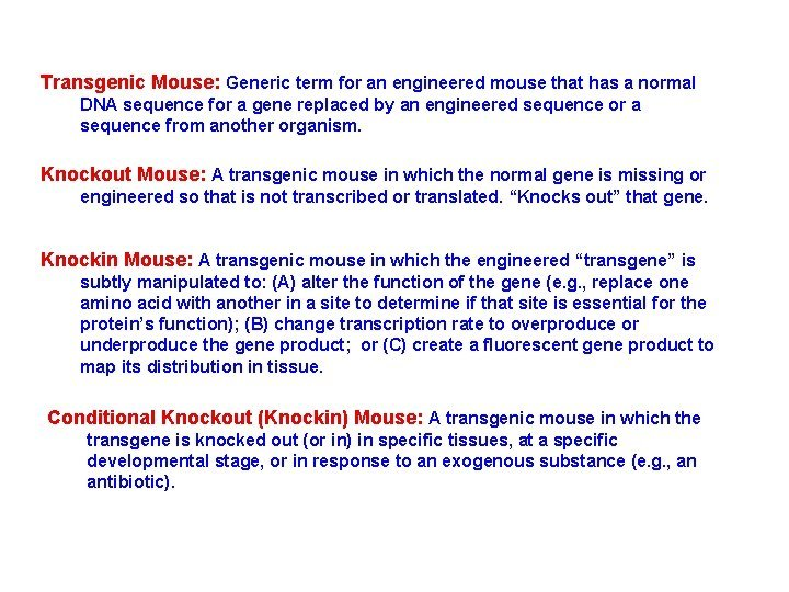Transgenic Mouse Generic term for an engineered mouse