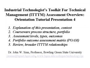 Industrial Technologists Toolkit For Technical Management ITTTM Assessment