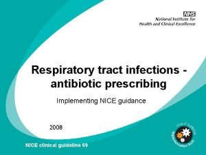 Respiratory tract infections antibiotic prescribing Implementing NICE guidance