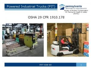Powered Industrial Trucks PIT Bureau of Workers Compensation