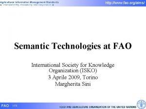 http www fao orgaims Semantic Technologies at FAO