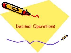 Decimal Operations Adding Decimal Numbers When adding decimal