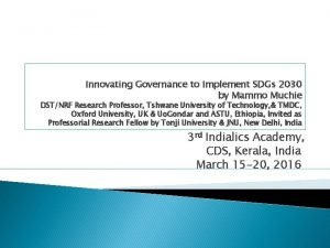 Innovating Governance to Implement SDGs 2030 by Mammo