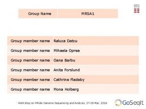 Group Name MRSA 1 Group member name Raluca