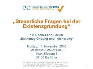 Steuerliche Fragen bei der Existenzgrndung 10 RheinLahnForum Existenzgrndung