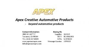 Apex Creative Automotive Products beyond automotive products Contact