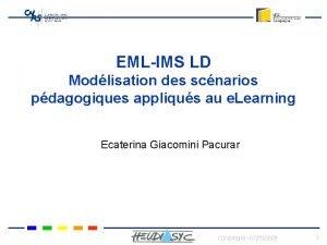 EMLIMS LD Modlisation des scnarios pdagogiques appliqus au