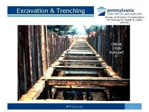 Excavation Trenching Bureau of Workers Compensation PA Training