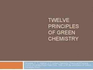 TWELVE PRINCIPLES OF GREEN CHEMISTRY Anastas P T