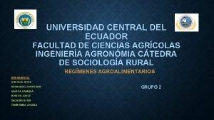 UNIVERSIDAD CENTRAL DEL ECUADOR FACULTAD DE CIENCIAS AGRCOLAS