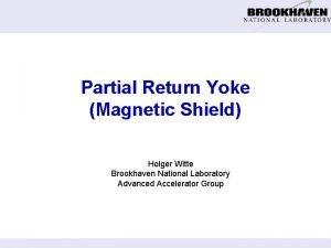 Partial Return Yoke Magnetic Shield Holger Witte Brookhaven
