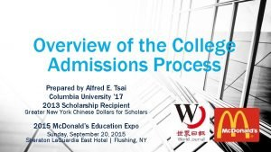 Overview of the College Admissions Process Prepared by