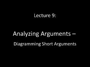 Lecture 9 Analyzing Arguments Diagramming Short Arguments This