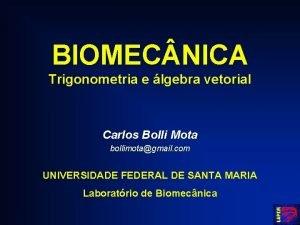 BIOMEC NICA Trigonometria e lgebra vetorial Carlos Bolli